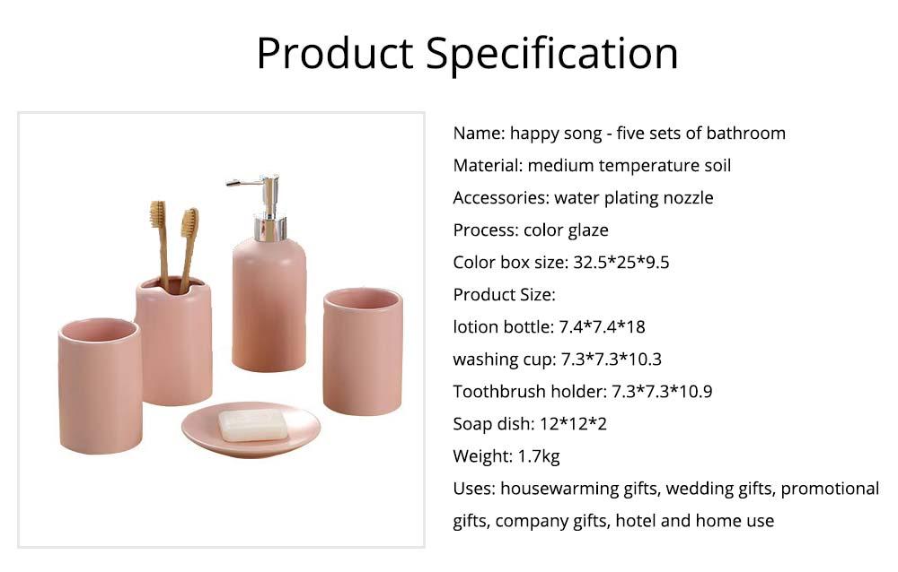 Five-piece Bathroom Set, Porcelain Bathroom Accessory Set, Bathroom Products Shower Gift Box 7