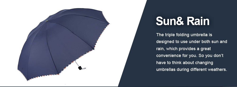 High Quality Umbrella Triple Folding Umbrella Allow for Customization for Home Use, Gifts or Advertisement Both Sun and Rain 3