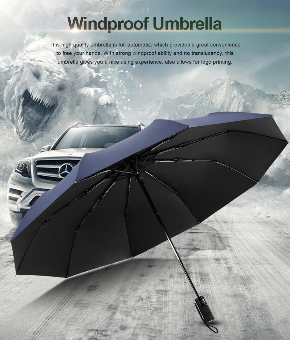 High Quality Three Folding Umbrella Full-automatic Black Vinyl and Pongee Cloth Umbrella Both Sun and Rain for Business Men 0