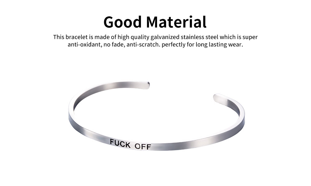 Unisex Opening Bracelets Simple Lettering Plated Stainless Steel Bangle Fashion Jewelry Accessories Personality Gifts 1