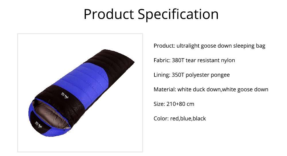 Black Fire Outdoor Ultralight Waterproof Goose Down Sleeping Bag Envelope Warm Durable Sleeping Bag for Adult Camping Hiking 5
