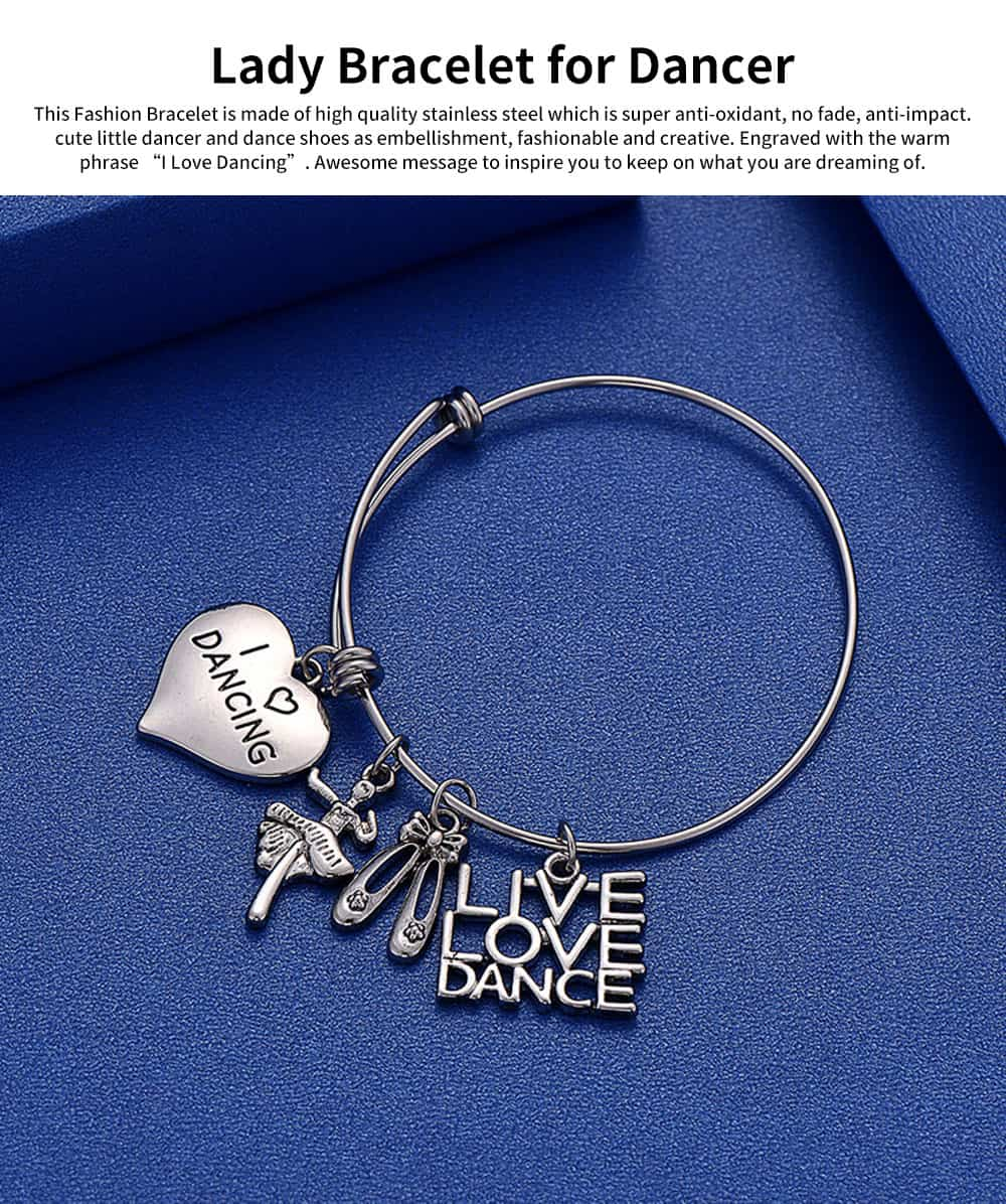 Simple Lettering Women Bracelet, Plated Stainless Steel Fashion Jewelry Accessories Elegant Adjustable Bangle Birthday Gift for Dancer 0