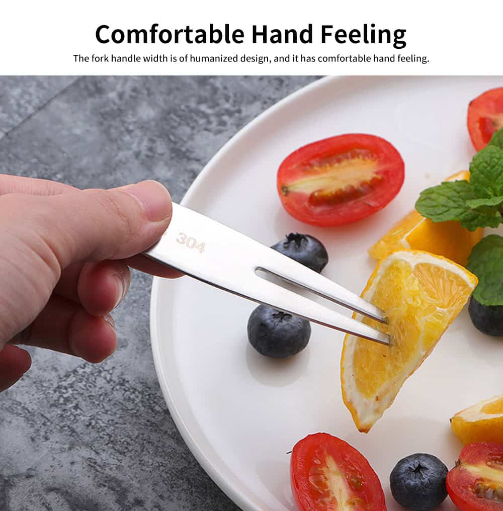 Fruit Fork 304 Stainless Steel Dessert Fork Creative Meat Fork Cute Cake Two Tooth Fork for Household 4
