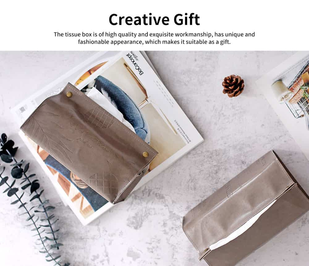 Instagram Hot Simple Style Tissue Box for Household Bedroom Living Room, PU Leather Napkin Storage Box Dust-proof Tissue Organizer 5