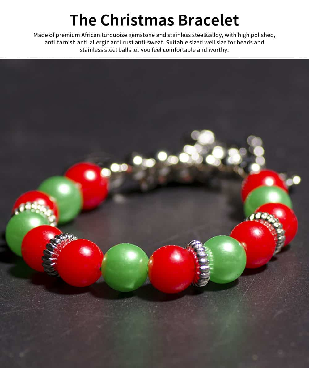DIY Christmas Tree Snowman Bracelet Plated Stainless Steel & Alloy Beads Bangle Best Christmas Gift 0
