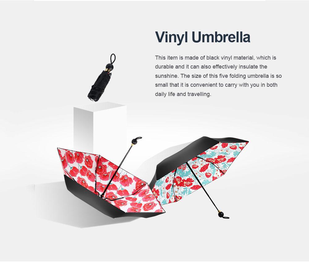 High Quality Sun and Rain 5 Folding Umbrella New Style Small Size Black Vinyl Sun Umbrella for Cute Lady Travelling Girls 0