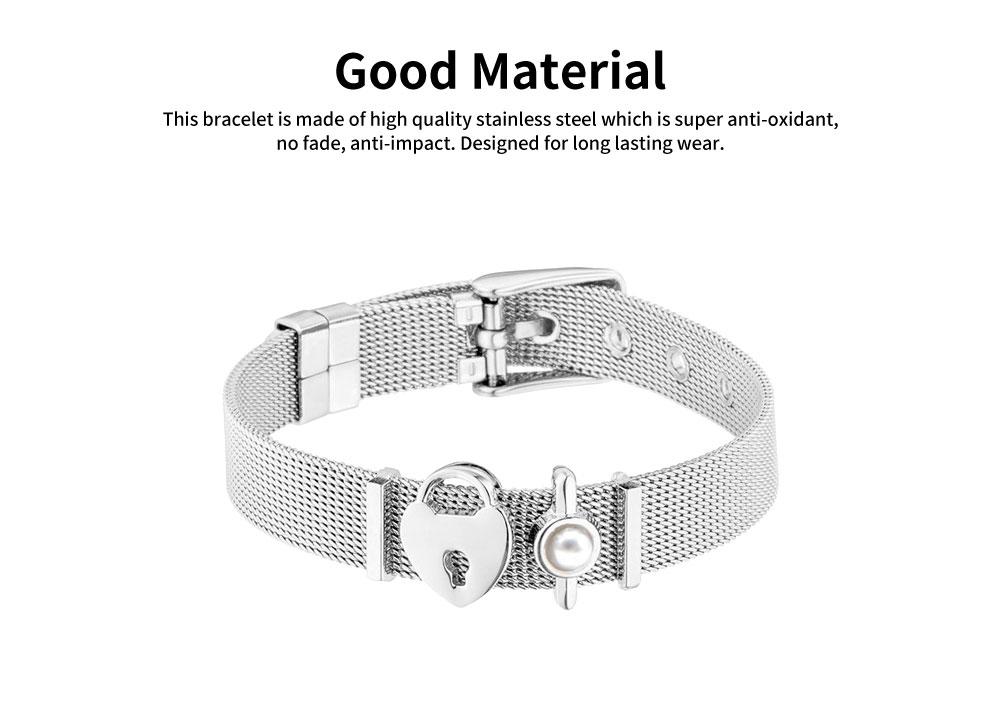 Lady Key Heart Padlock Mesh Bracelet, Charm Dress Bracelets Valentines Gift for Girlfriend 1