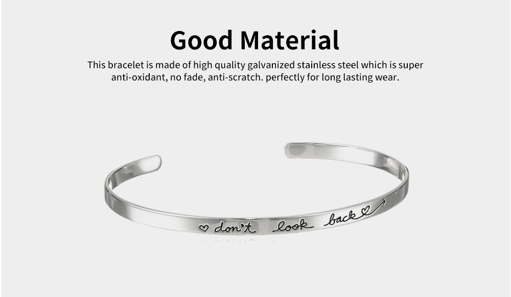 Simple Lettering Unisex Bracelet Plated Stainless Steel Bangle Fashion Jewelry Accessories Elegant Inspired Bracelets Best Gifts 2