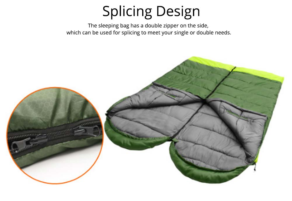 Outdoor Double Splicing Envelope Sleeping Bag for Camping, Thickened Cotton Warm Stretch Hand Sleeping Bag for Traveling Spring Autumn 2