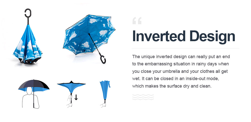 Inverted Umbrella With C-shaped Handle, Allow for Customization and Free Logo Printing,  Reverse Umbrella for Both Sun and Rain Use 3