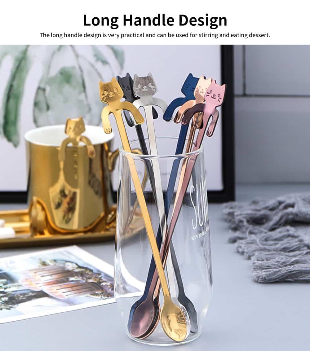 Stainless Steel Cute Cat Spoon Creative Hanging Cup Spoon Long Handle Stirring Spoon Dessert Ice Cream Tableware 2