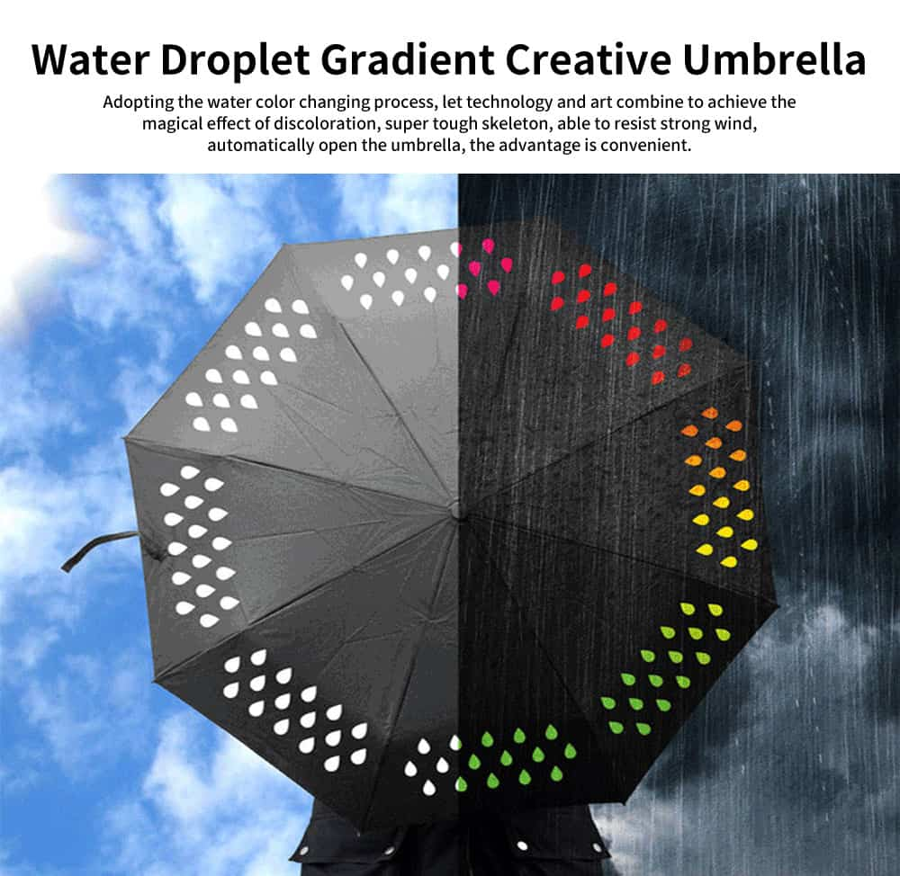 Water Droplet Gradient Creative Umbrella, Three of Fold Automatic Opening Umbrella, Water Color Changing Umbrella 0