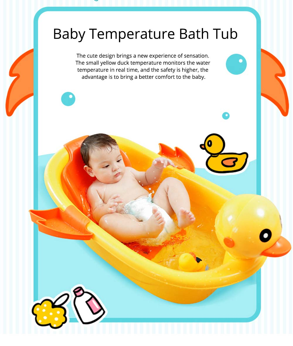 Baby Temperature Bath Tub, Can Sit and Lie Cartoon Yellow Duck Baby Tub 0