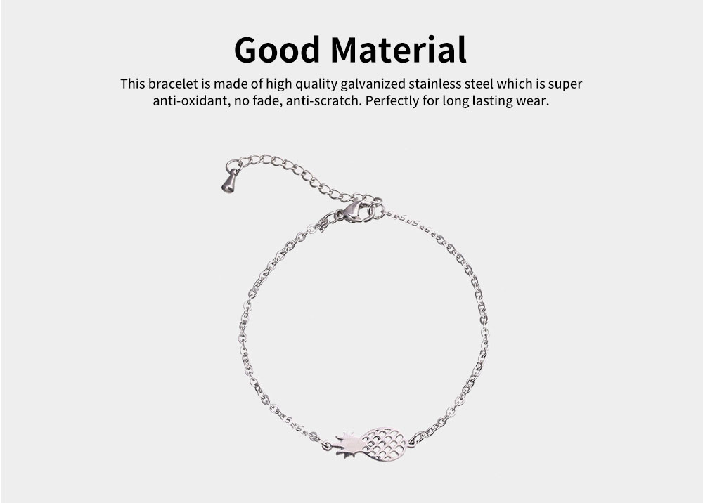 Women Bracelet Personalized Pineapple Pendant Plated Stainless Steel Bangle Fashion Jewelry Accessories Personality Thin Bracelets 1