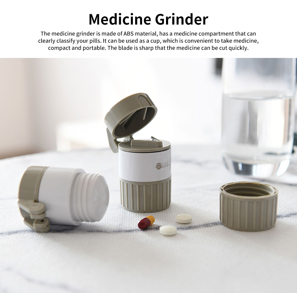 Japanese Multifunctional Pill Crusher Cutter, Portable Baby Medicine Grinder Pill ABS Storage Box 0