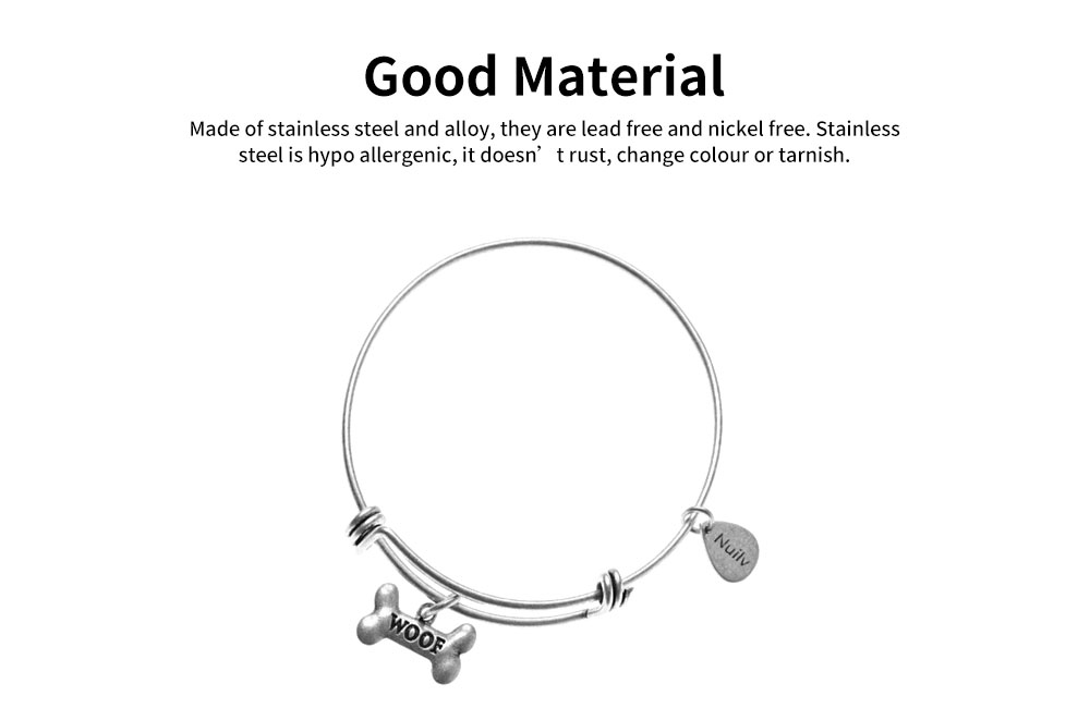Dog Bone Bracelet Retro Pendant Plated Alloy Bangle Fashion Jewelry Accessories Adjustable Personality Thin Bracelets Best Gifts 3