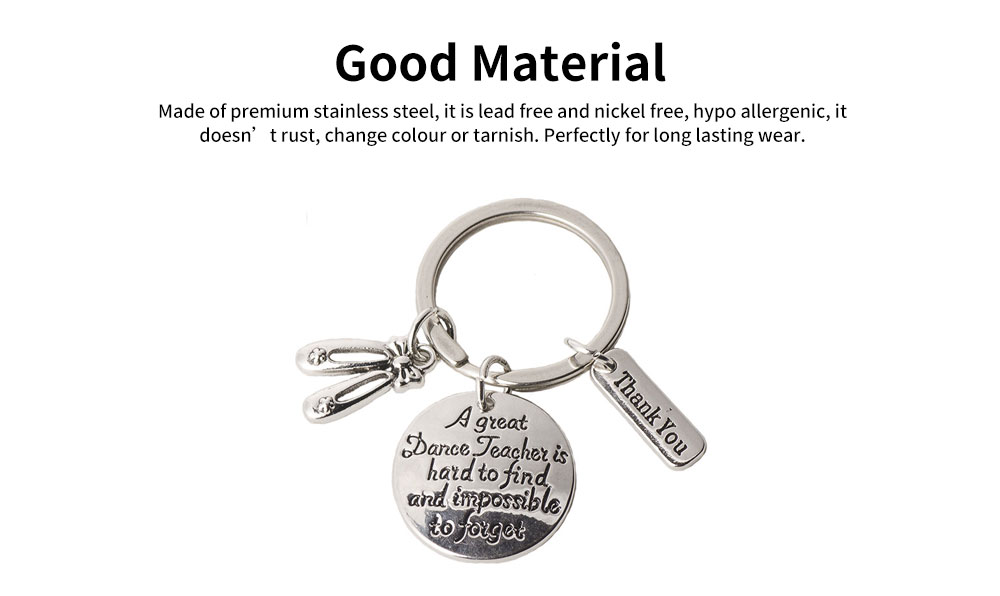 Personalized Pendant Key Ring, Stainless Steel Keychain Fashion Accessories Gift for Dance Teacher Instructor 1