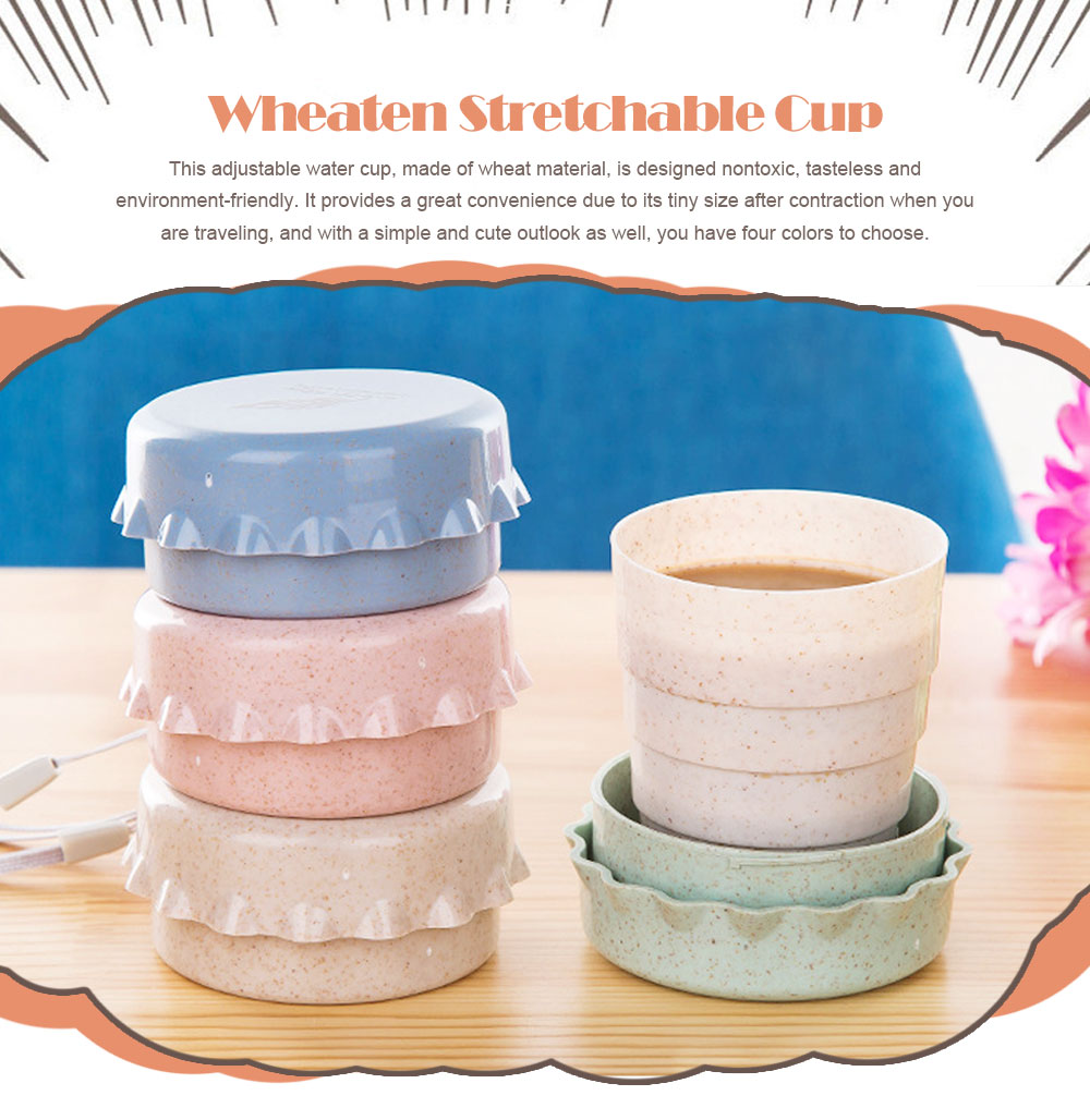 Wheaten Stretchable Cup Creative and Adjustable Water Cup for Both Traveling and Household 0