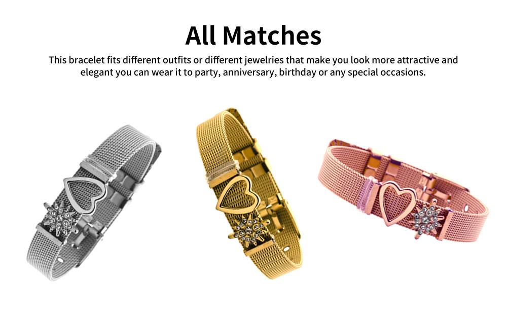 Heart Shaped Rhinestone Mesh Women's Bracelet, Plated Stainless Steel Creative Couple Bracelets Valentines Gift for Girlfriend 3