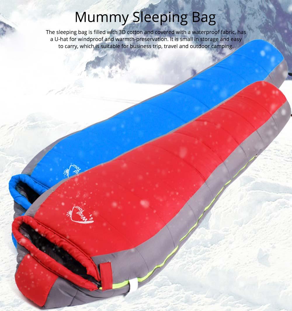 Mummy Splicing Sleeping Bag 3D Thicken Cotton Warm Sleeping Bag for outdoor camping Hiking Winner Autumn 0