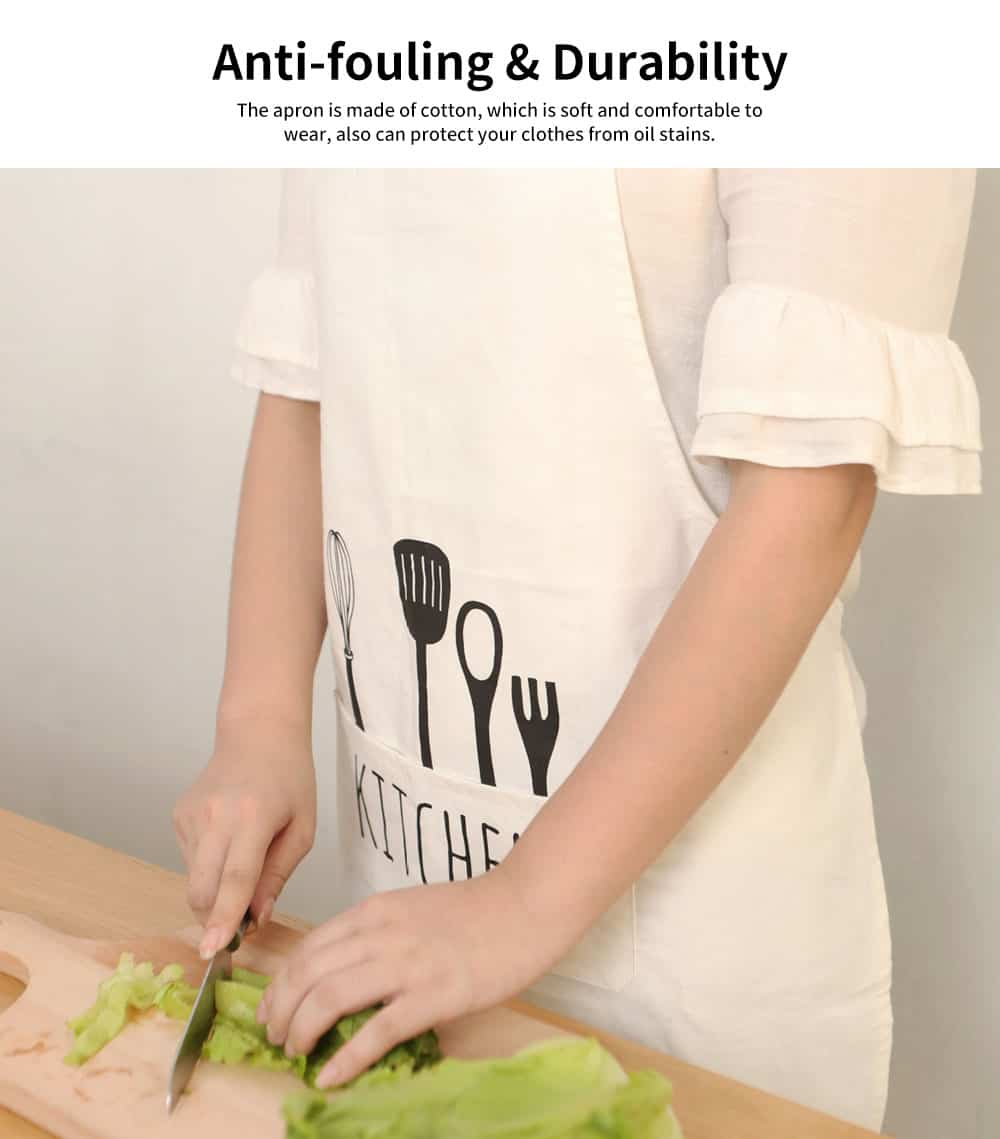 Canvas Apron with Original Design Printing Apron, Northern Europe Style Creative Cotton Apron for Kitchen Cooking Baking 1