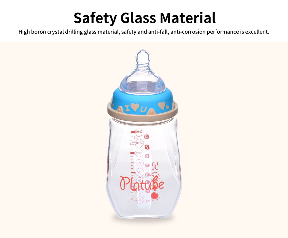 Infant Glass Bottle, Wide Diameter with Handle Anti-fall Bottle, Anti-flatulence High Temperature Silicone Bottle 4