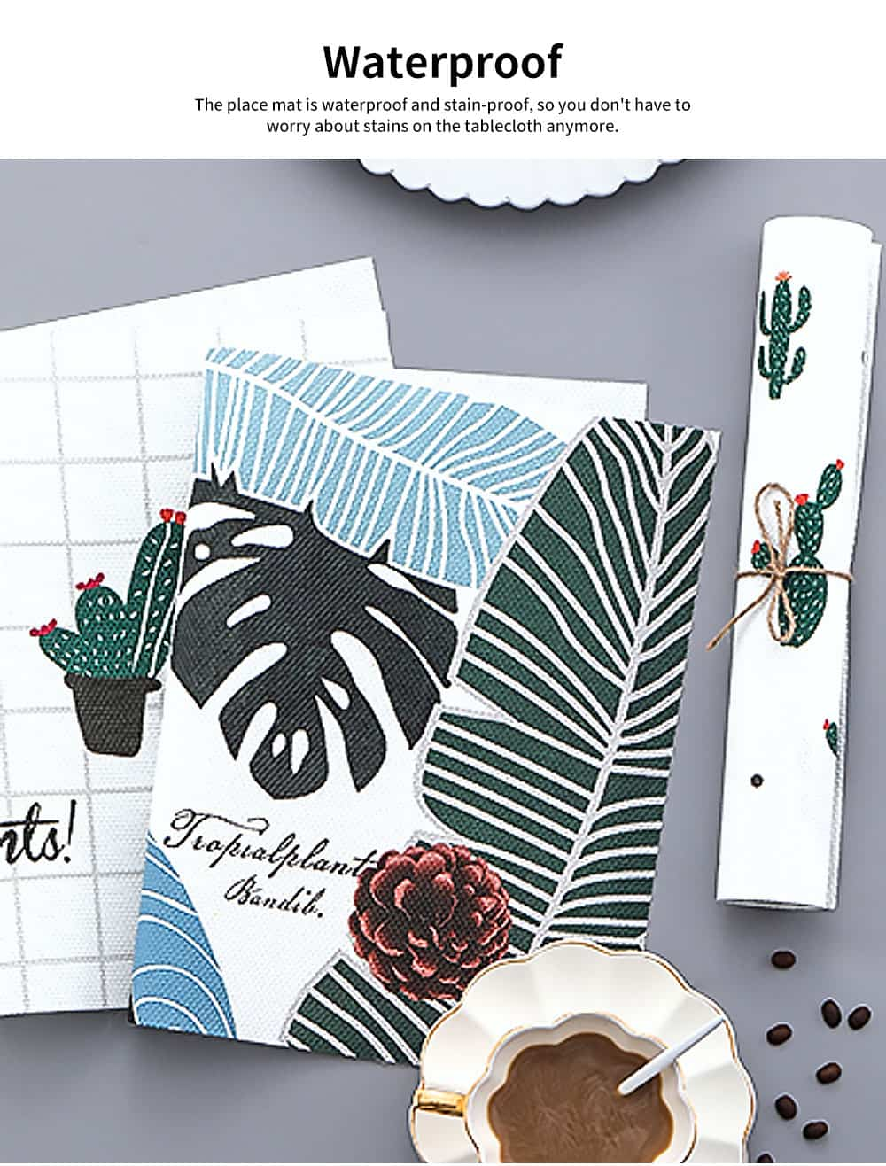 Tropical Plants Creative Bowl Dish Placemat Heat Insulation Waterproof Anti-scald Table Mat 2