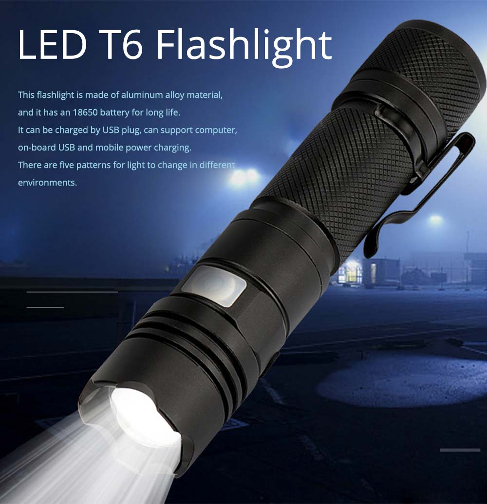 LED New T6 Flashlight USB Rechargeable Bright Flashlight with Indicator Light for Outdoor Cycling Lighting  0