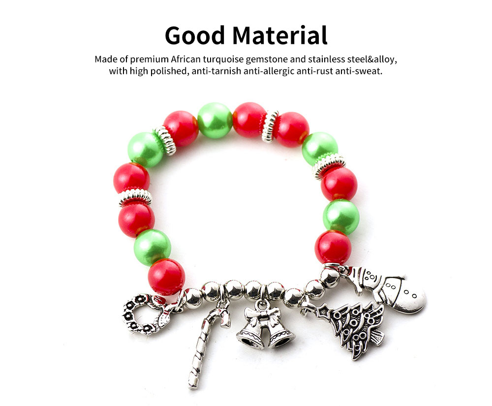 DIY Christmas Tree Snowman Bracelet Plated Stainless Steel & Alloy Beads Bangle Best Christmas Gift 5
