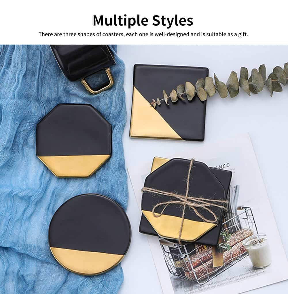 Gold Marble Coasters Ceramic Coaster Tea Cup Pad, Northern Europe Style Non-slip Heat Insulation Coaster for Household 6