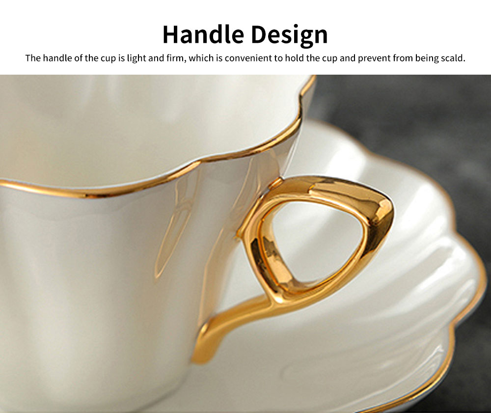 European Style Coffee Cup With Gold Rim China Coffee Cup and Saucer Set High Grade Simple Afternoon Flower Tea Set 4
