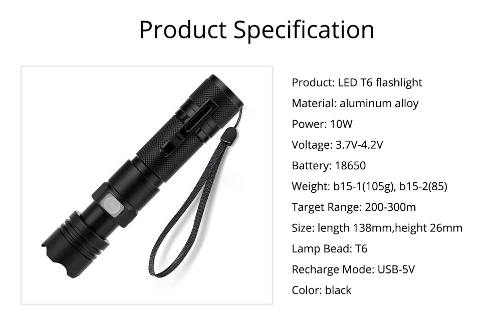 LED New T6 Flashlight USB Rechargeable Bright Flashlight with Indicator Light for Outdoor Cycling Lighting  7