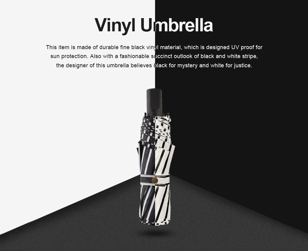 New Style Three Folding Umbrella Fashionable Black and White Stripe Vinyl Sun Protection Umbrella UV Proof 2019 0