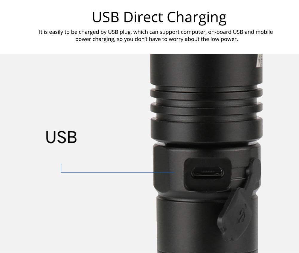 LED New T6 Flashlight USB Rechargeable Bright Flashlight with Indicator Light for Outdoor Cycling Lighting  2