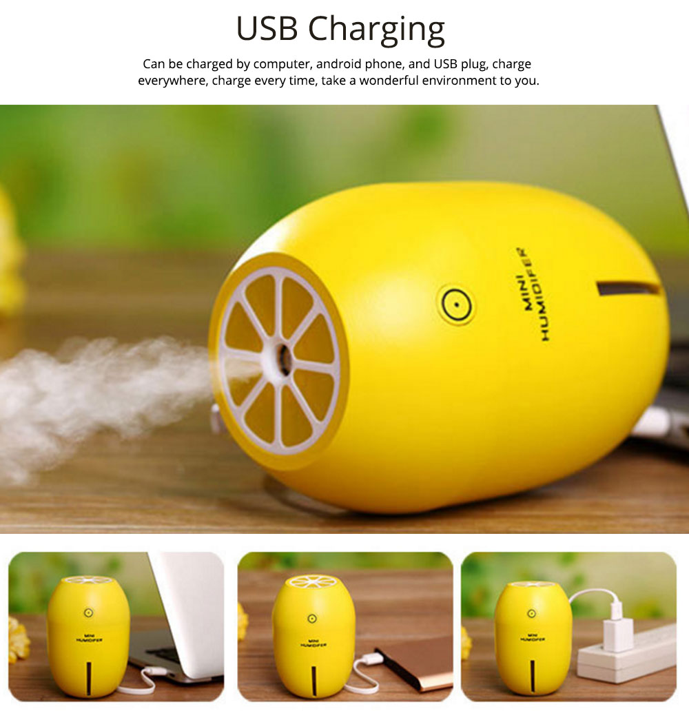 USB Oil Diffuser - Lemon LED Aroma Humidifier Air Aromatherapy - 4 Colors, 180ml 5