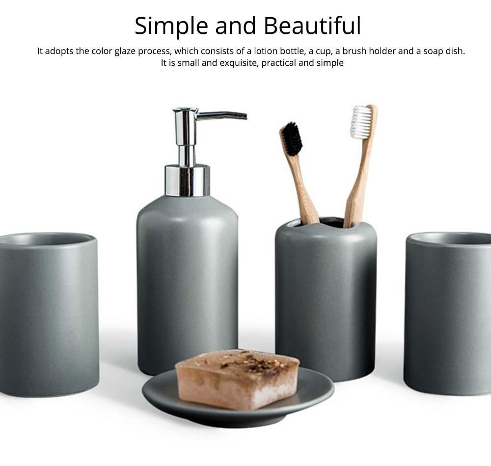 Five-piece Bathroom Set, Porcelain Bathroom Accessory Set, Bathroom Products Shower Gift Box 6