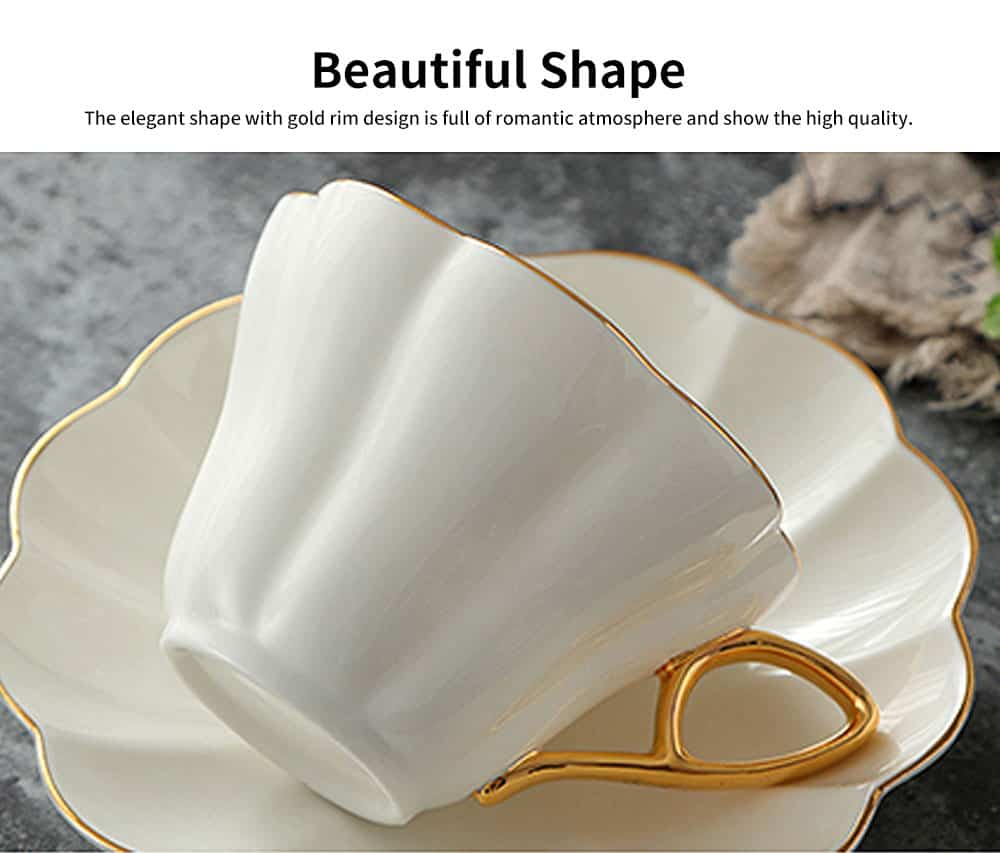 European Style Coffee Cup With Gold Rim China Coffee Cup and Saucer Set High Grade Simple Afternoon Flower Tea Set 3