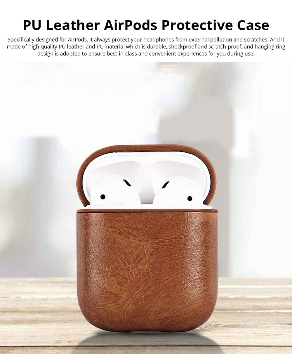 Luxury Leather Airpods Cover Strap Shockproof for Bluetooth Earphones, Minimalist Airpods Sleeve Pouch Cover Case with Hanging Ring 0