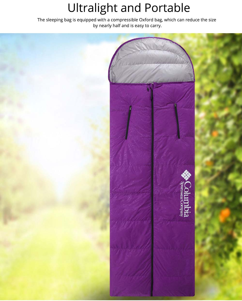 White Duck Down Outdoor Sleeping Bag Ultralight Portable Envelope Stretch Hand Warm Sleeping Bag for Adult Camping Hiking 2