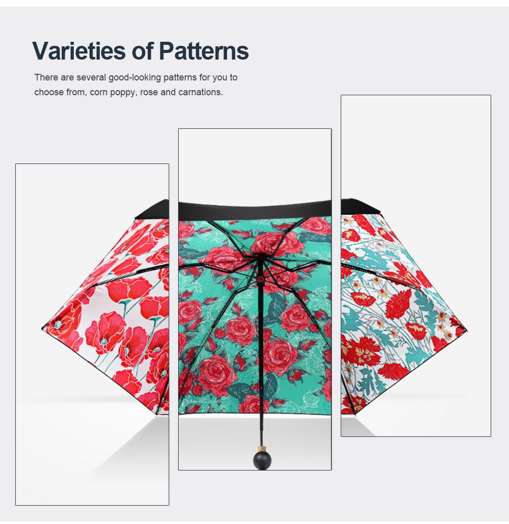 High Quality Sun and Rain 5 Folding Umbrella New Style Small Size Black Vinyl Sun Umbrella for Cute Lady Travelling Girls 5