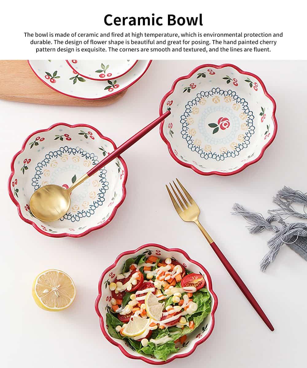 Creative Hand Painted Cherry Little Ceramic Bowl, Snack Nest Bowl for Household Tableware Europe Style Fruit Salad Dessert Bowl 0