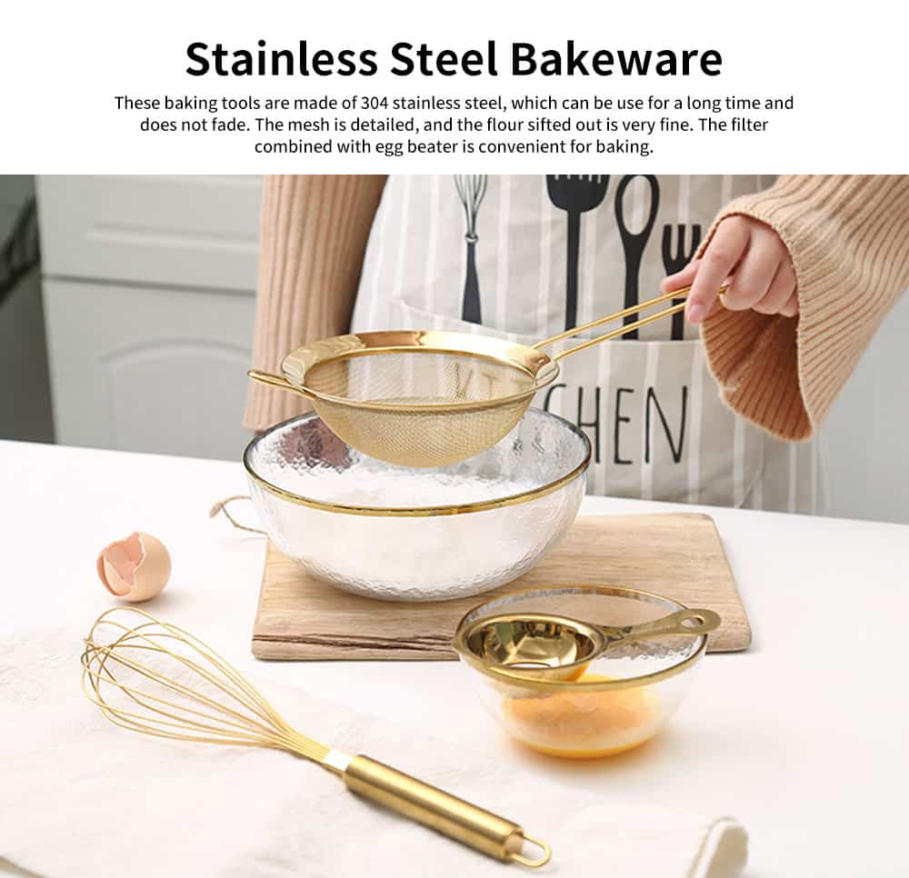Stainless Steel Baking Cooking Utensils - Egg Beater, Whisk, Basting Brush, Juice Filter Scoop, Household Kitchen Bakeware 0