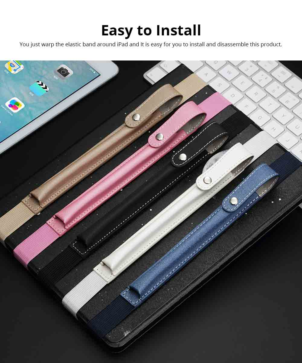 Portable Pen Full Case for Apple Pencil with Secure Button, Ultra-soft PU Leather Apple Pencil Protective Pouch with Elastic Band 4