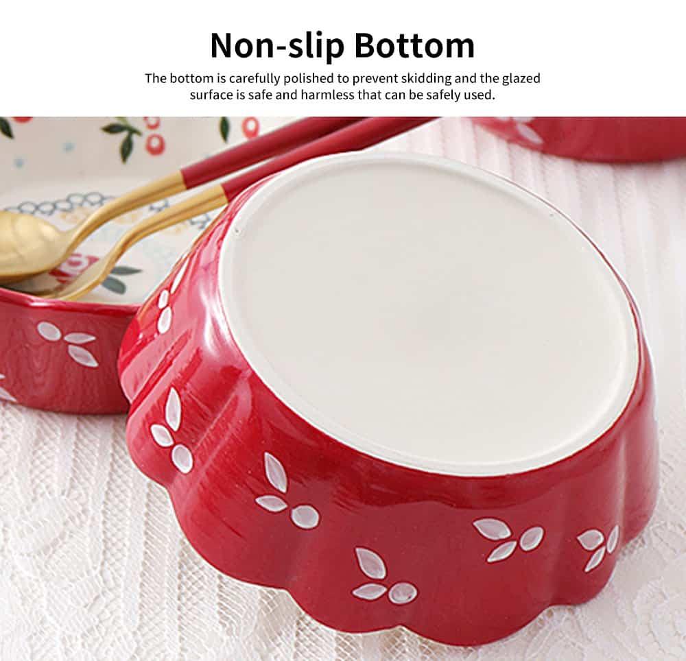 Creative Hand Painted Cherry Little Ceramic Bowl, Snack Nest Bowl for Household Tableware Europe Style Fruit Salad Dessert Bowl 5
