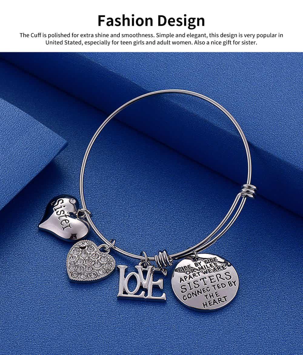 Heart Shape Sister Lettering Women Bracelet, Plated Stainless Steel Bangle Elegant Charm Bracelets Best Gifts 11