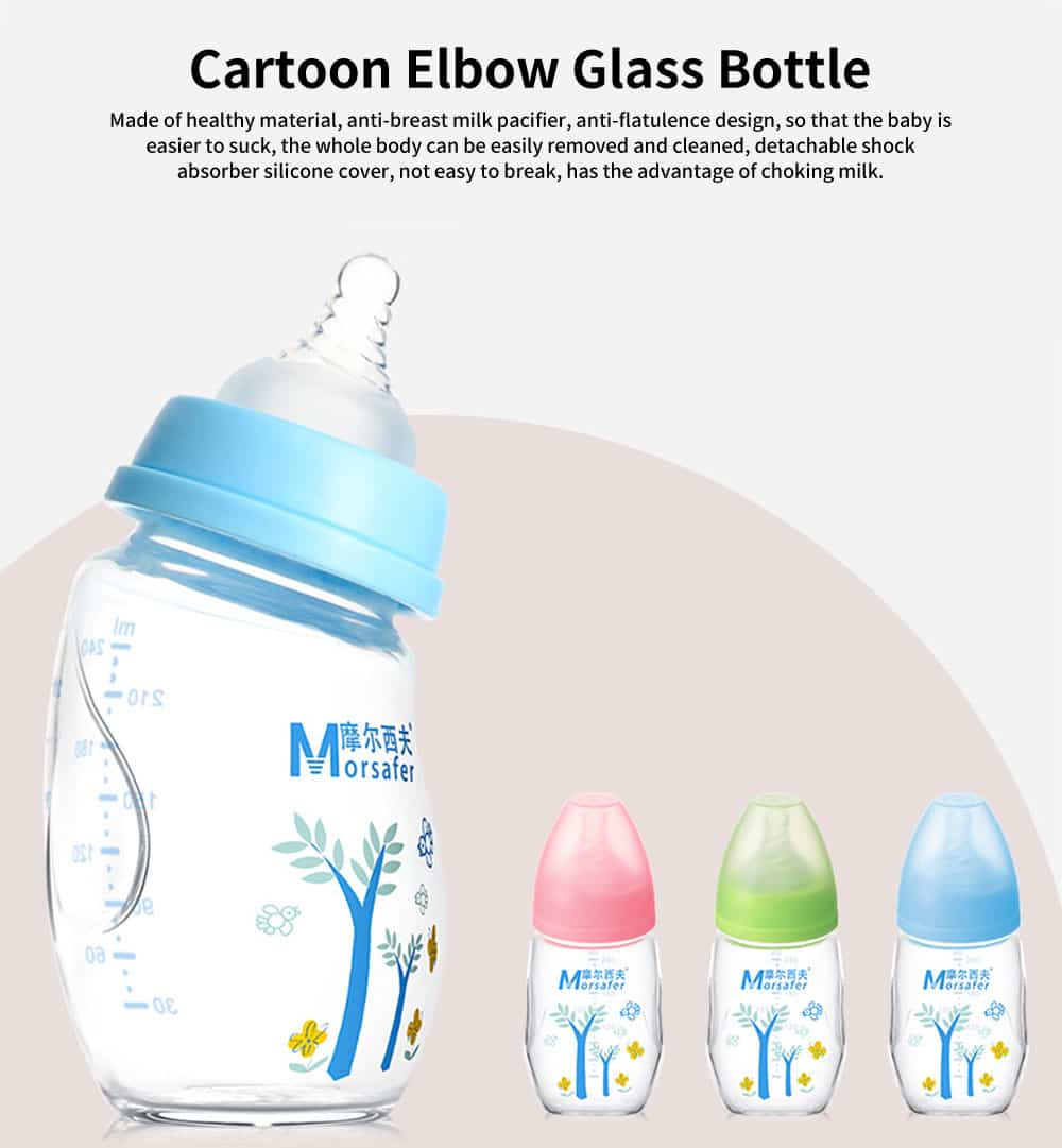 Wide Mouth Cartoon Elbow Glass Bottle, Silicone Case Baby Bottle, Baby Anti-Flatulence Bottle, 240ml 0