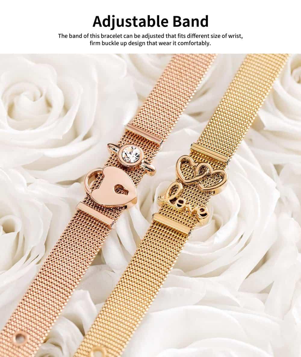 Lady Key Heart Padlock Mesh Bracelet, Charm Dress Bracelets Valentines Gift for Girlfriend 4