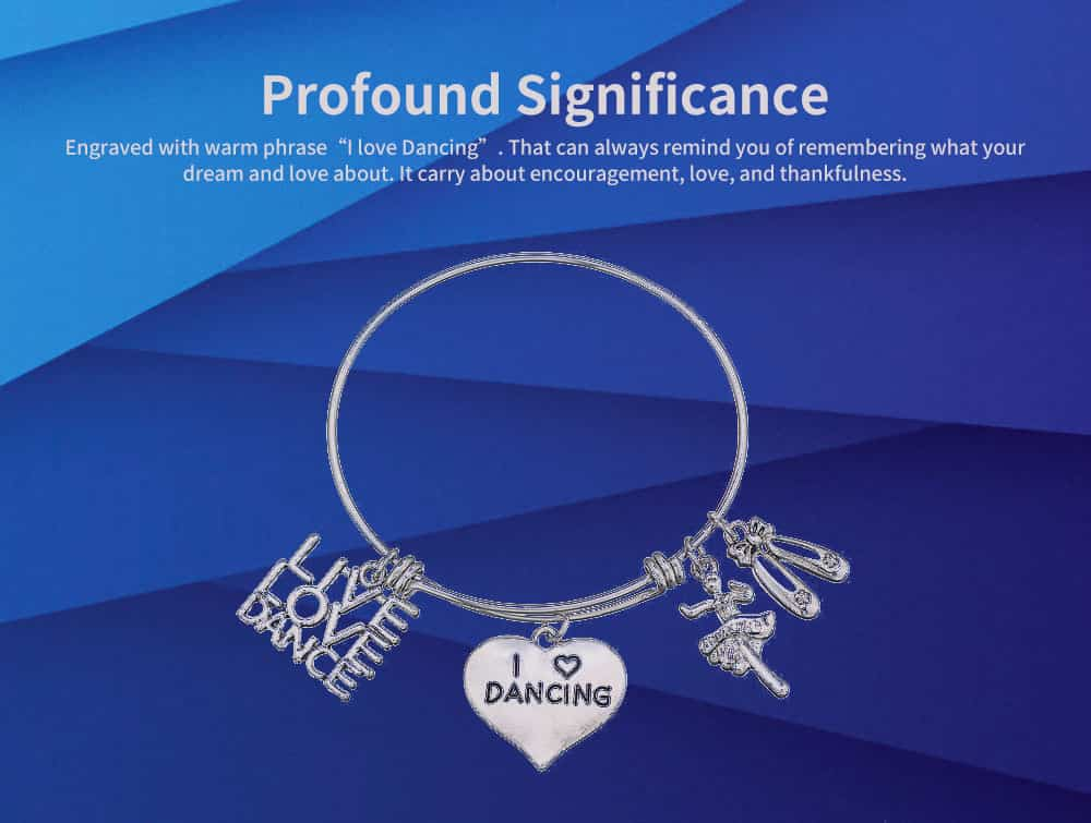 Simple Lettering Women Bracelet, Plated Stainless Steel Fashion Jewelry Accessories Elegant Adjustable Bangle Birthday Gift for Dancer 3