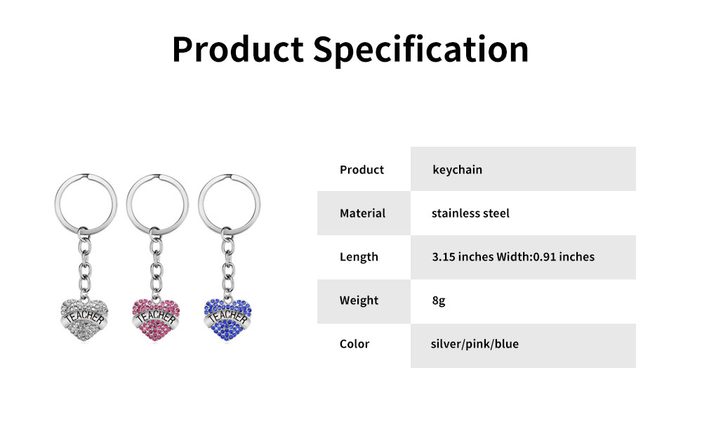 Fashionable Simple Keychain Plated Stainless Steel Pendant Key Ring Diamond Fashion Accessories Thanksgiving Gift For Teacher Instructor 12