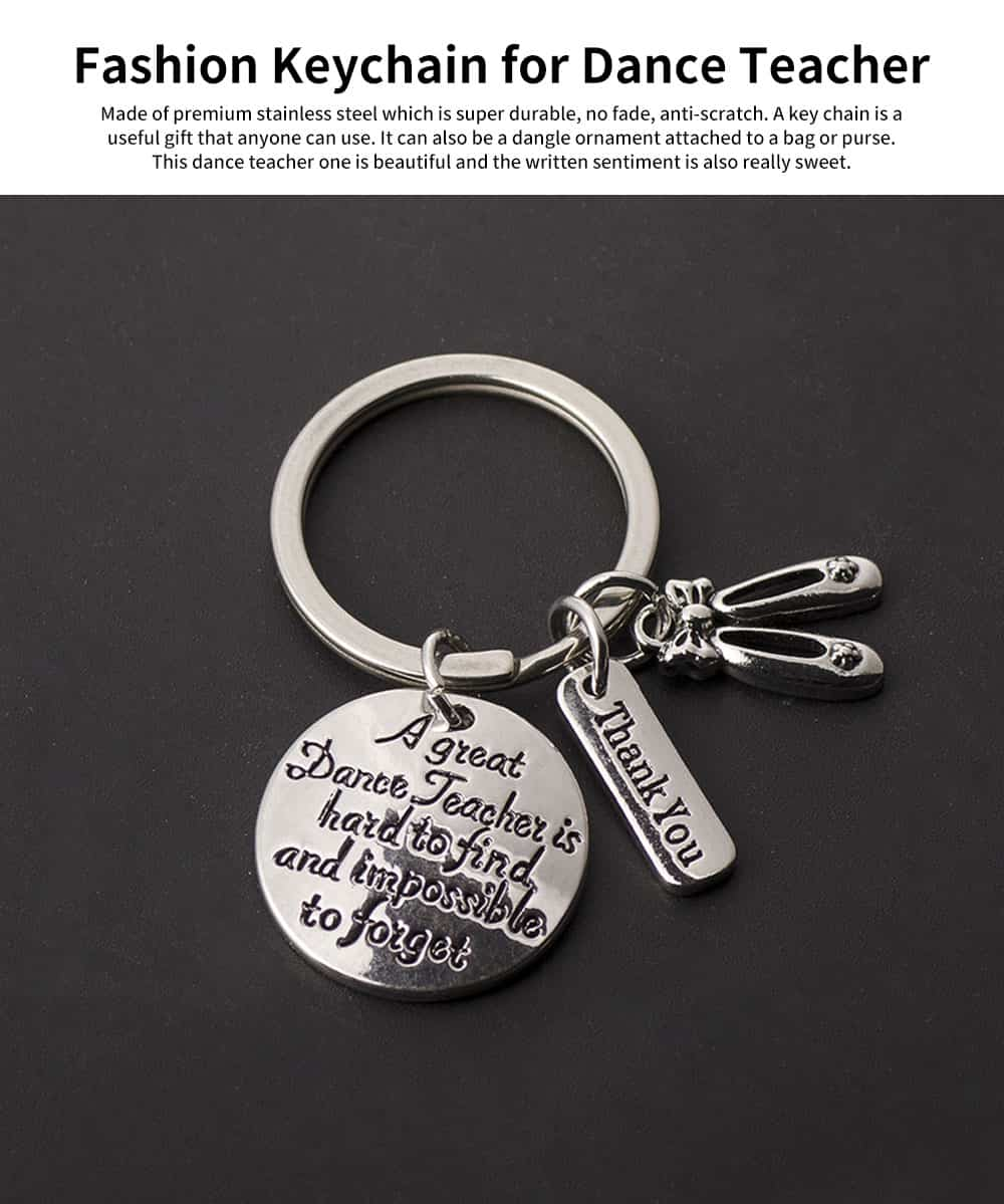 Personalized Pendant Key Ring, Stainless Steel Keychain Fashion Accessories Gift for Dance Teacher Instructor 0